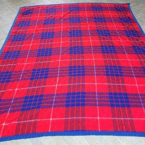 Vtg Burlington House Blanket Red Blue Plaid 66x90